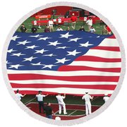 The American Flag Round Beach Towel by Allen Beatty