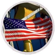 Tribute To The American Flag Oil Industry Round Beach Towel
