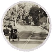 The Amish Buggy Round Beach Towel