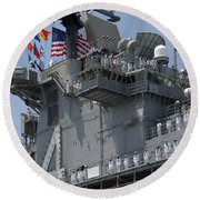 The Amphibious Assault Ship Uss Boxer Round Beach Towel by Stocktrek Images