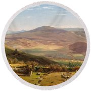 The Amphitheatre Of Tusculum And Albano Mountains. Rome Round Beach Towel