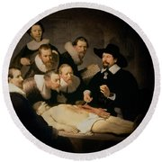 The Anatomy Lesson Of Doctor Nicolaes Tulp Round Beach Towel