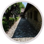 The Ancient Cloister 2  Round Beach Towel