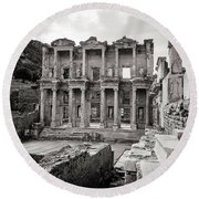 The Ancient Library Round Beach Towel