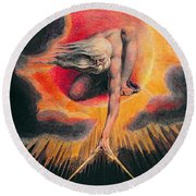 The Ancient Of Days Round Beach Towel by William Blake