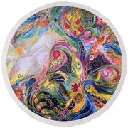 The Angel Of Flowers Round Beach Towel