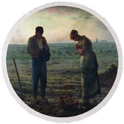 The Angelus Round Beach Towel by Jean-Francois Millet