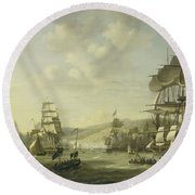 The Anglo Dutch Fleet In The Bay Of Algier Round Beach Towel