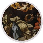 The Annunciation To The Shepherds Round Beach Towel