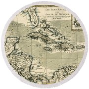 The Antilles And The Gulf Of Mexico Round Beach Towel by Guillaume Raynal