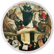 The Apotheosis Of Saint Thomas Aquinas Round Beach Towel by Francisco de Zurbaran