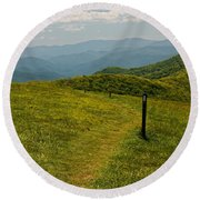 The Appalachian Trail Crossing Max Patch Round Beach Towel