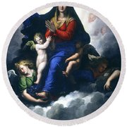 The Apparition Of The Virgin Round Beach Towel