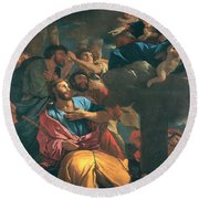 The Apparition Of The Virgin The St James The Great Round Beach Towel
