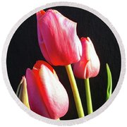 The Appearance Of Spring - Tulips Round Beach Towel