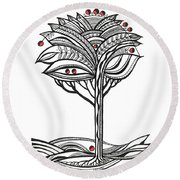 The Apple Tree Round Beach Towel