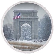 The Arch At Valley Forge Round Beach Towel