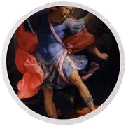 The Archangel Michael Defeating Satan 1635 Round Beach Towel