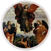 The Archangels Triumphing Over Lucifer Round Beach Towel
