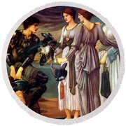 The Arming Of Perseus 1885 Round Beach Towel