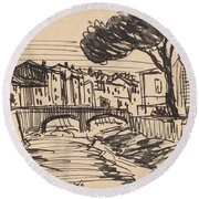 The Arno In The Evening, Florence Round Beach Towel