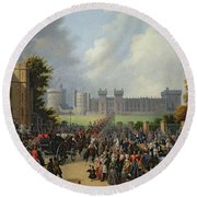 The Arrival Of Louis-philippe Round Beach Towel