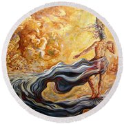 The Arrival Of The Goddess Of Consciousness Round Beach Towel