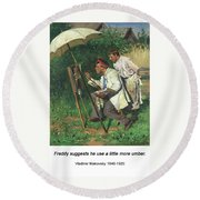 The Artist And The Apprentice  Round Beach Towel