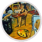 The Artist And The Fortune Teller Round Beach Towel