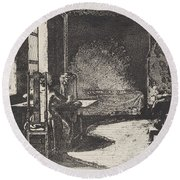 The Artist In His Mother's Room, Danzig Round Beach Towel