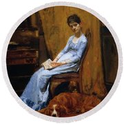 The Artist Wife And His Setter Dog 1889 Round Beach Towel