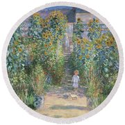 The Artists Garden At Vetheuil Round Beach Towel