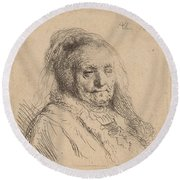 The Artist's Mother, Head And Bust Round Beach Towel