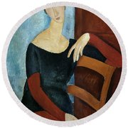 The Artist's Wife Round Beach Towel by Amedeo Modigliani