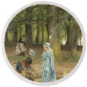 The Artist's Wife And Daughters In A Park At Heringsdorf Round Beach Towel