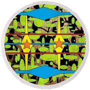 The Arts Of Textile Designs #3 Round Beach Towel