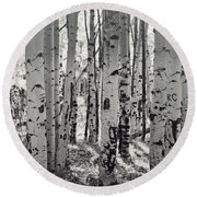 The Aspen Forest In Black And White  Round Beach Towel