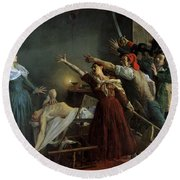 The Assassination Of Marat Round Beach Towel by Jean Joseph Weerts
