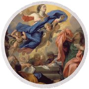The Assumption Of The Virgin Round Beach Towel