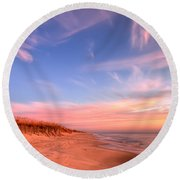 The Atlantic Coast At Sunrise Round Beach Towel