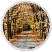 The Back Road In Autumn Round Beach Towel