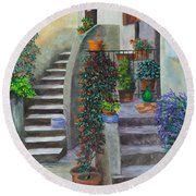 The Back Stairs Round Beach Towel
