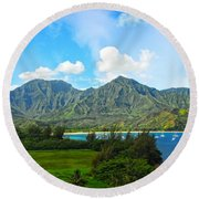 The Backside Of The Napali Coastline Round Beach Towel