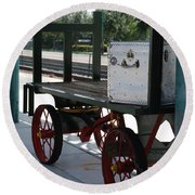 The Baggage Cart And Truck Round Beach Towel