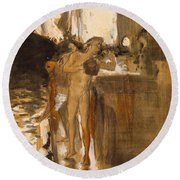 The Balcony, Spain Two Nude Bathers Standing On A Wharf Round Beach Towel