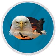 The Bald Eagle 2 Round Beach Towel