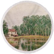 The Banks Of The Canal At Moret Sur Loing Round Beach Towel