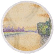 The Banks Of The Marne At Dawn 1888 Round Beach Towel
