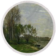 The Banks Of The Oise Round Beach Towel