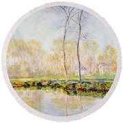 The Banks Of The River Epte At Giverny Round Beach Towel